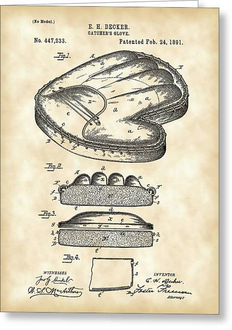 Baseball Bat Greeting Cards - Catchers Glove Patent 1891 - Vintage Greeting Card by Stephen Younts