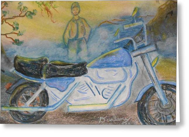 Motorcycles Pastels Greeting Cards - Catching The Breeze Greeting Card by Darlene Custer