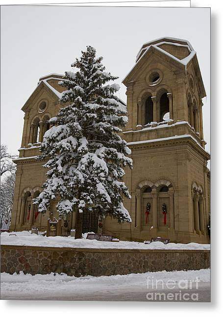 St. Francis Day Greeting Cards - Cathedral Basilica of St Francis in snow Greeting Card by Jason O Watson