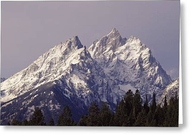 Wintry Greeting Cards - Cathedral Group Grand Teton National Greeting Card by Panoramic Images
