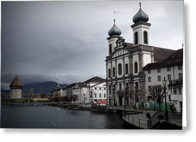 Reuss Greeting Cards - Cathedral on the River Greeting Card by Kari Espeland