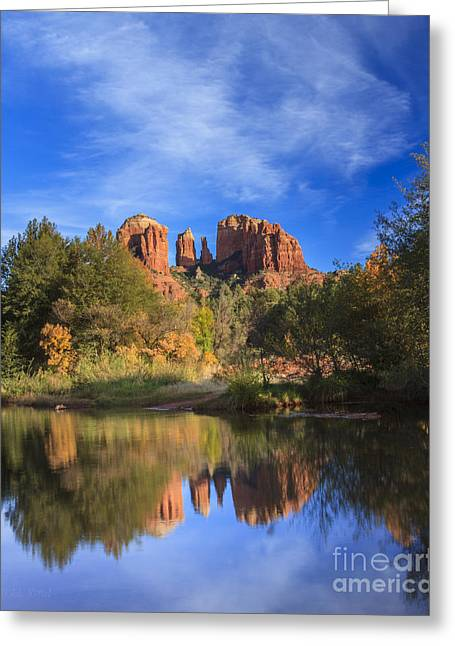 Red Rock Crossing Greeting Cards - Cathedral Rock Greeting Card by Medicine Tree Studios
