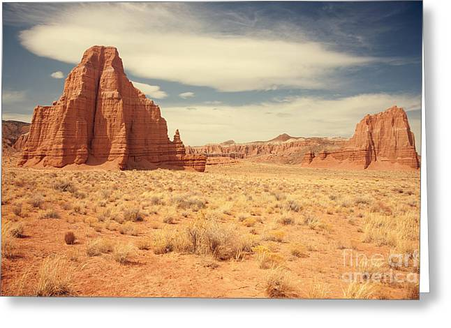 Cathedral Rock Greeting Cards - Cathedral Valley Utah Greeting Card by Carolyn Rauh