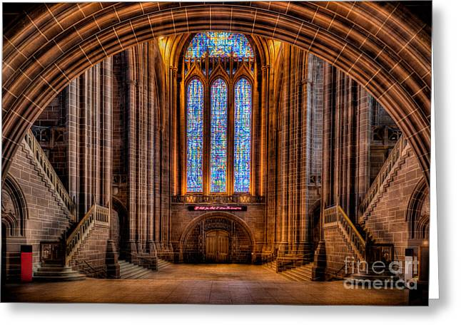 Signed Digital Greeting Cards - Cathedral Window Greeting Card by Adrian Evans
