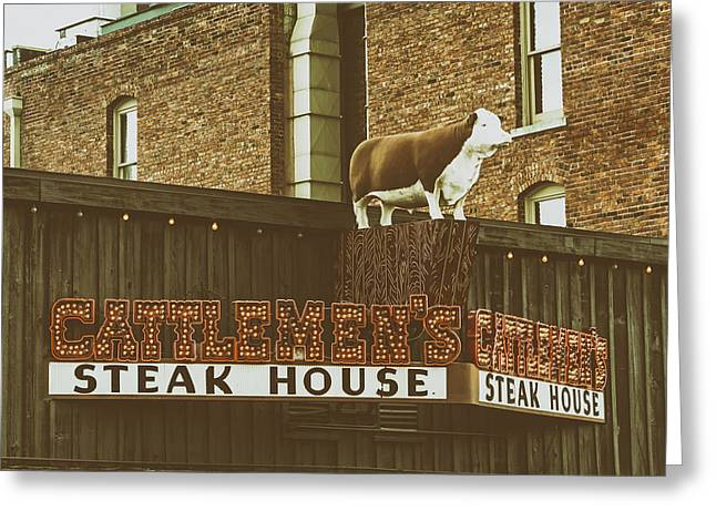 Steer Greeting Cards - Cattlemens Steakhouse - Fort Worth Texas Greeting Card by Mountain Dreams