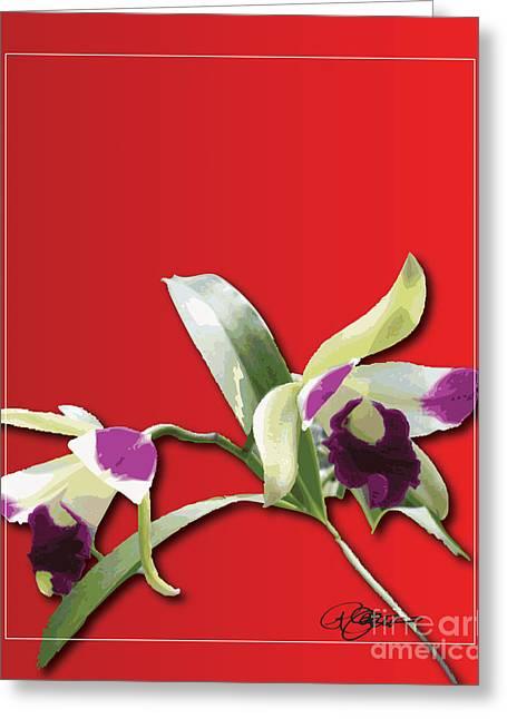 Cattleya Greeting Cards - Cattleya Triage dafoi Art 3 of 3  Greeting Card by Ruth  Benoit