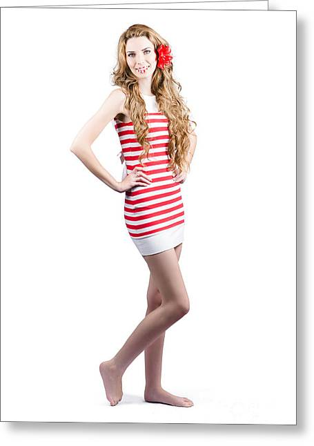 Youthful Photographs Greeting Cards - Catwalk beauty posing in retro fashion and makeup Greeting Card by Ryan Jorgensen