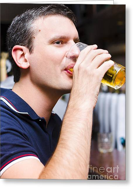 Satisfaction Greeting Cards - Caucasian man drinking pint of beer inside pub Greeting Card by Ryan Jorgensen