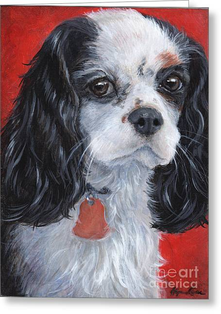 King Charles Cavalier Greeting Cards - Cavalier King Charles Spaniel Greeting Card by Hope Lane