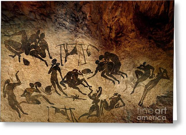 Socialize Greeting Cards - Cave Painting, Artwork Greeting Card by Smetek