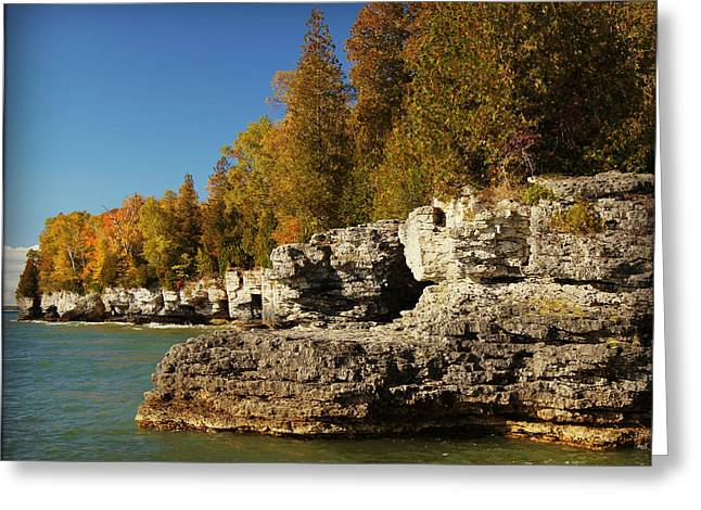 Summer Storm Greeting Cards - Cave Point County Park Door County Wisconsin Greeting Card by Carol Toepke