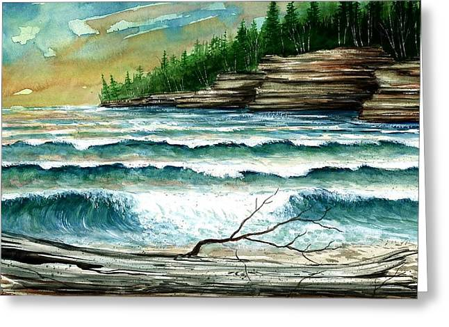 Cave Point Greeting Card by Steven Schultz