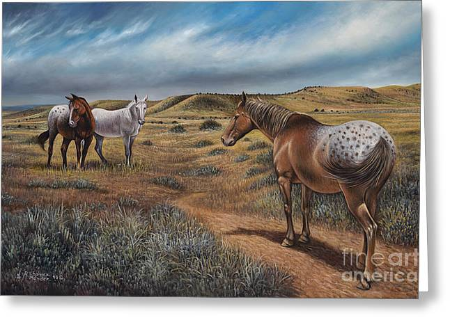 Quarter Horses Paintings Greeting Cards - Cayuse Country Greeting Card by Ricardo Chavez-Mendez