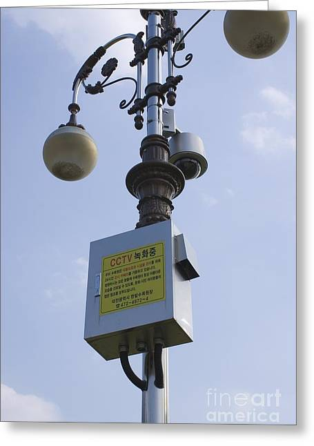 Big Brother Greeting Cards - Cctv Camera On Lamp Post, Daejeon Greeting Card by Mark Williamson