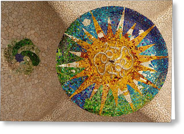Guell Greeting Cards - Ceiling Detail Of The Hall Of Columns Greeting Card by Panoramic Images