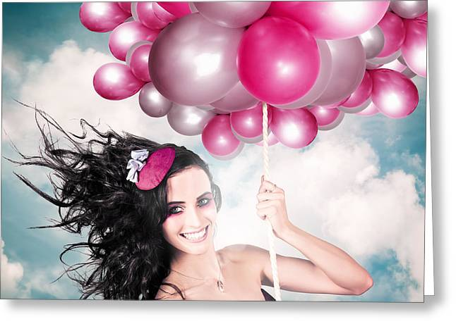 Helium Greeting Cards - Celebration. Happy Fashion Woman Holding Balloons Greeting Card by Ryan Jorgensen