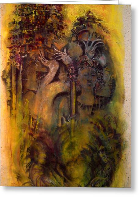 Maiden Pastels Greeting Cards - CELESTIAL MAIDENS...Darkness Riding On Their Wings Greeting Card by Josie Taglienti
