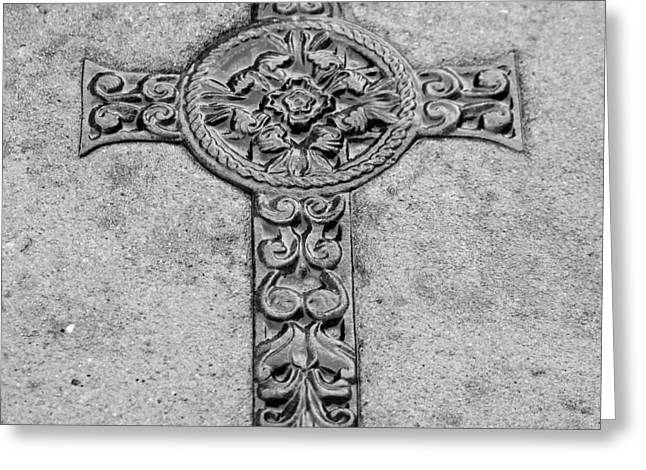 Metal Art Greeting Cards - Celtic Cross Greeting Card by Suzanne Gaff