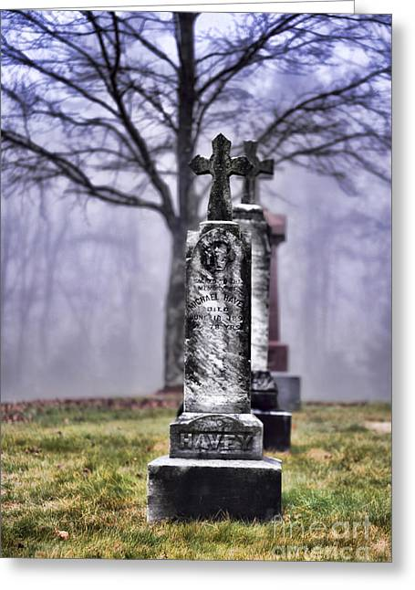 Headstones Greeting Cards - Cemetery Greeting Card by HD Connelly