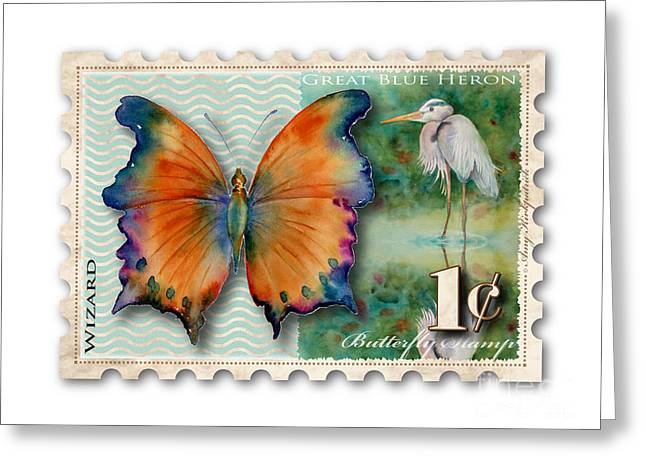 1 Cent Butterfly Stamp Greeting Card by Amy Kirkpatrick