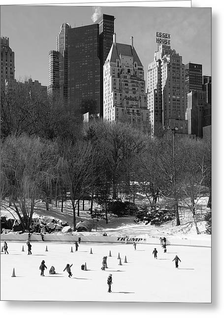 Ice-skating Greeting Cards - Central Park Greeting Card by Christian Heeb