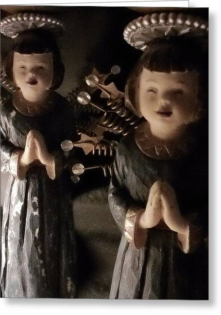 Asian Sculptures Greeting Cards - Ceramic Metal  Asian Angel Figurine-Candle Holder Greeting Card by Thelma Harcum