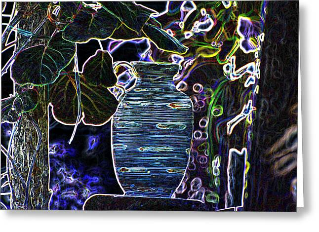 Generative Abstract Photographs Greeting Cards - Still Life Wine Jar Greeting Card by Dave Byrne