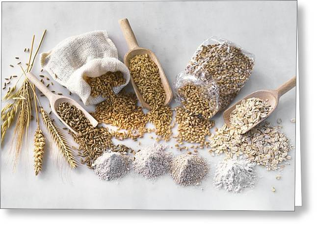 Flour Sack Greeting Cards - Cereal crop products Greeting Card by Science Photo Library