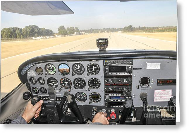 Takeoff Greeting Cards - Cessna Skyhawk at takeoff Greeting Card by Shay Levy