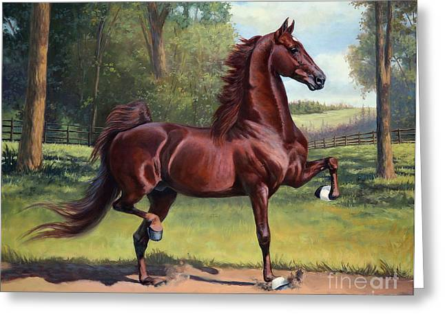 American Saddlebred Greeting Cards - CH. Merchant Prince Greeting Card by Jeanne Newton Schoborg