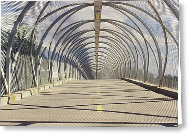 Covered Bridge Greeting Cards - Chain-link Fence Covering A Bridge Greeting Card by Panoramic Images