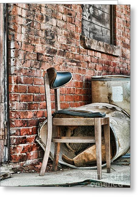 Brick Streets Greeting Cards - Chair Greeting Card by HD Connelly