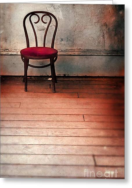 Empty Chairs Greeting Cards - Chair in Abandoned Room Greeting Card by Jill Battaglia