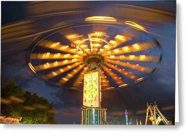 Chair Swing Fairground Ride Greeting Card by Jim West
