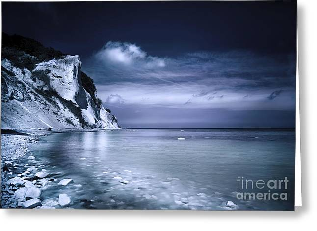 Cliffs Over Ocean Greeting Cards - Chalk Mountains And Seaside, Mons Klint Greeting Card by Evgeny Kuklev