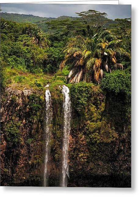 Holliday Scene Greeting Cards - Chamarel Waterfall. Mauritius Greeting Card by Jenny Rainbow