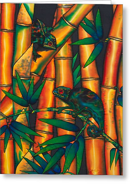 Red Tapestries - Textiles Greeting Cards - Chameleon Greeting Card by Daniel Jean-Baptiste