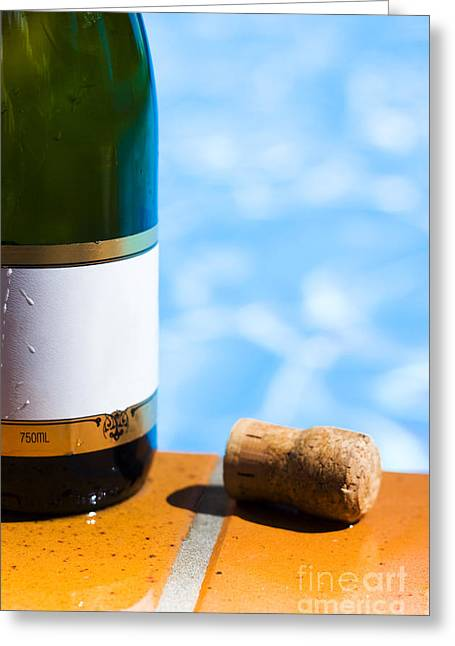 Sparkling Wine Greeting Cards - Champagne Bottle And Cork Greeting Card by Ryan Jorgensen