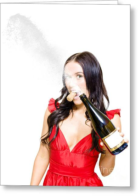 Graduation Party Greeting Cards - Champagne Celebration With A Splash Of Success  Greeting Card by Ryan Jorgensen