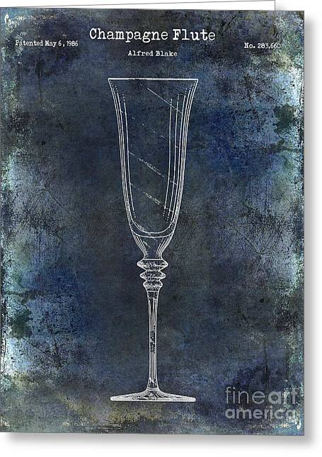 Champagne Glasses Greeting Cards - Champagne Flute Patent Drawing Blue 2 Greeting Card by Jon Neidert
