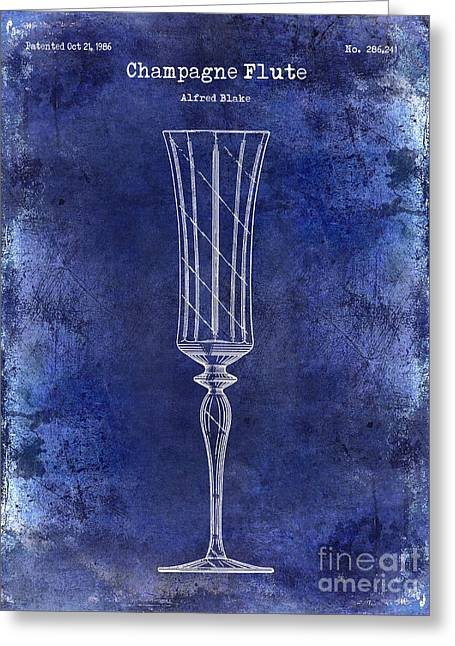 Champagne Glasses Greeting Cards - Champagne Flute Patent Drawing Blue Greeting Card by Jon Neidert
