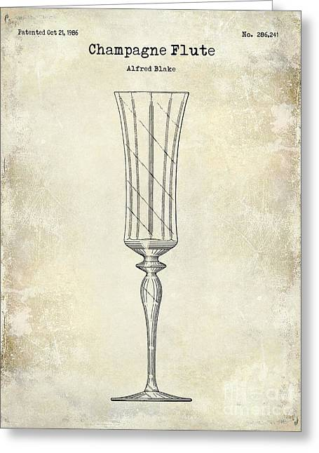Champagne Glasses Greeting Cards - Champagne Flute Patent Drawing Greeting Card by Jon Neidert