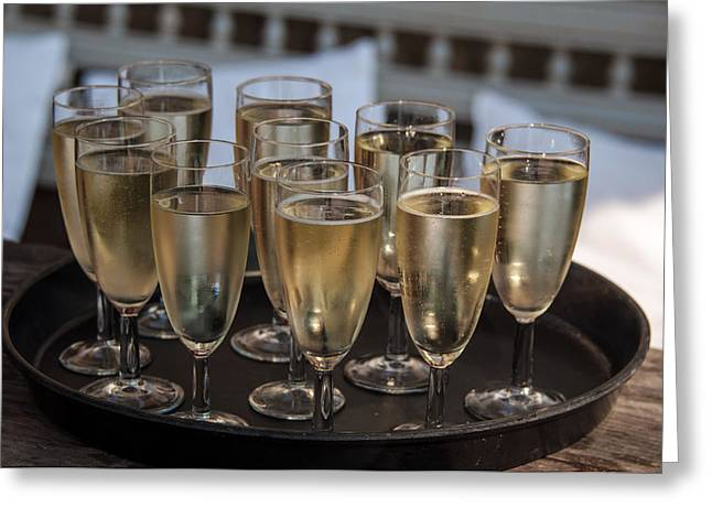 Prosecco Greeting Cards - Champagne Flutes Greeting Card by Frank Gaertner