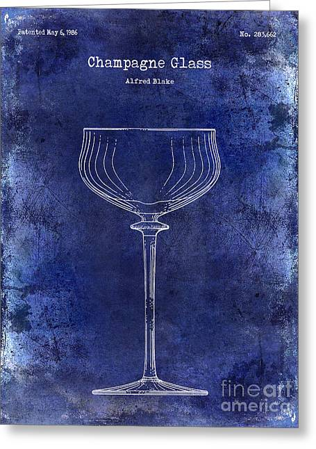 Champagne Glasses Greeting Cards - Champagne Glass Patent Drawing Blue Greeting Card by Jon Neidert
