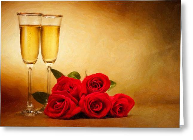 Champagne Flute Greeting Cards - Champagne glasses and roses  Greeting Card by Ulrich Schade