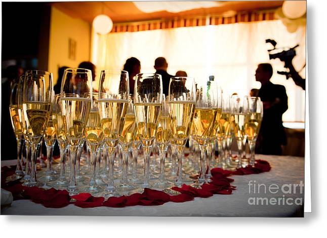 Champagne Glasses Greeting Cards - Champagne glasses at the party Greeting Card by Michal Bednarek