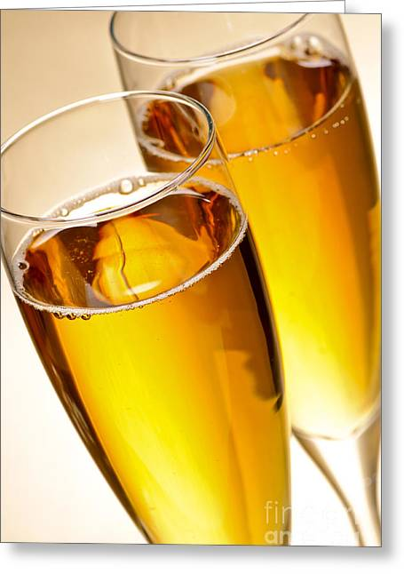 Bubbly Greeting Cards - Champagne in glasses Greeting Card by Elena Elisseeva