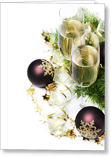 New Year Greeting Cards - Champagne Greeting Card by Jelena Jovanovic