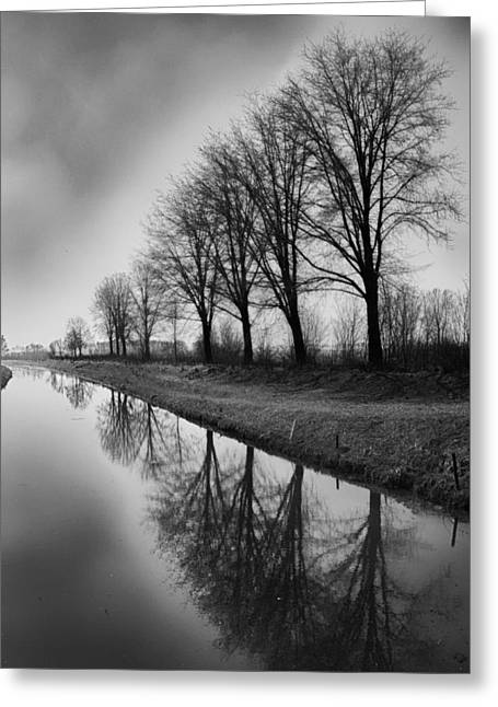 Grey Clouds Greeting Cards - Channel Reflections - The Netherlands Greeting Card by Mountain Dreams