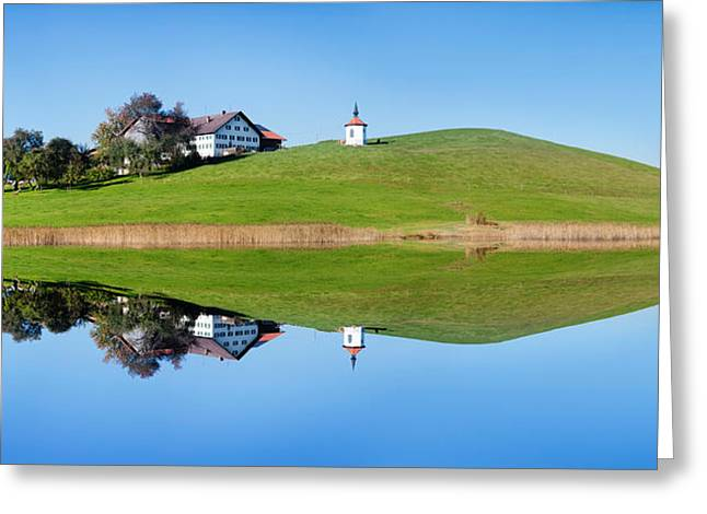 Seen Greeting Cards - Chapel At Hergratsrieder See Lake Greeting Card by Panoramic Images